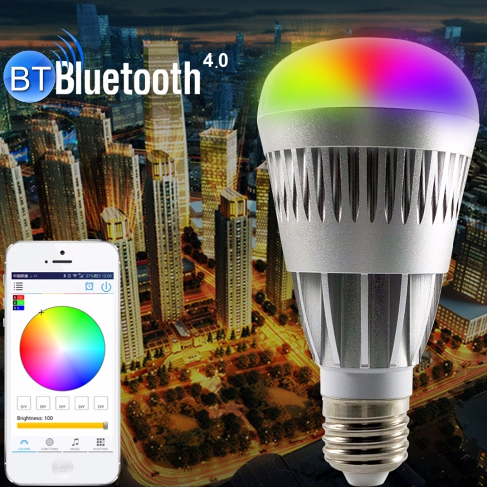 ФОТО 10W E27 B22 E26 rgb Wireles Bluetooth led Light Bulbs Speaker Music Playing Color Change Adjustable With Bluetooth Devices