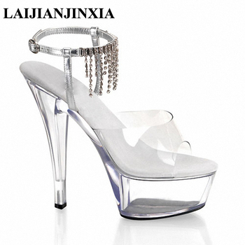LAIJIANJINXIA Sexy Women Romantic Wedding Dancing Shoes 15cm High Heels Transparent Platform Tassel Slippers Pole Dance Shoes