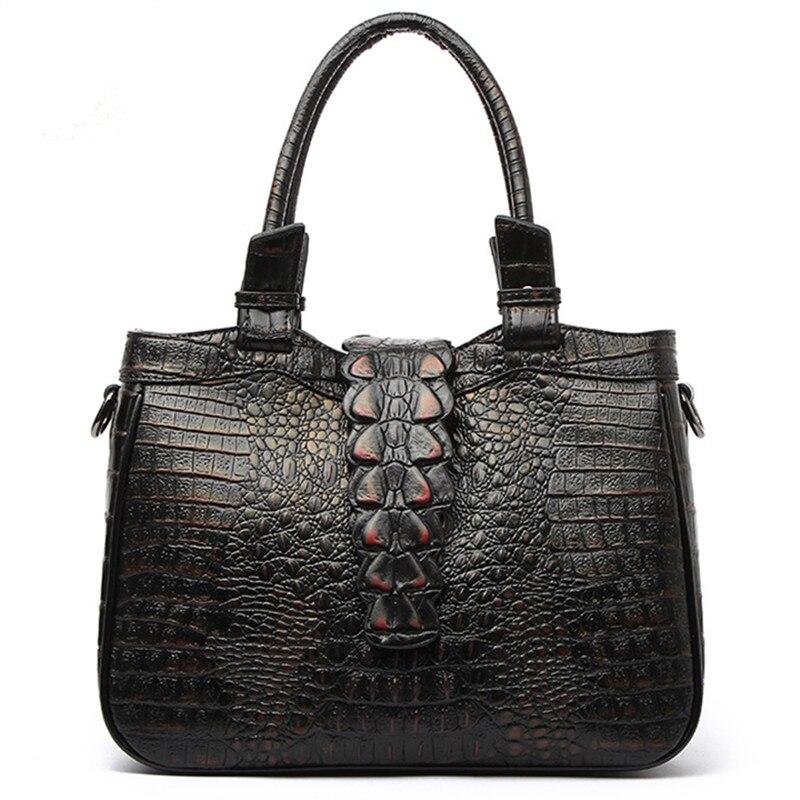 Women Genuine Leather Bag Famous Brands Handbags Luxury Designer Handbag High Quality Crocodile Leather Tote Hand Bag Louis B