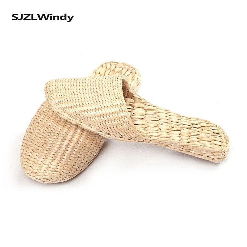 Летние шлепанцы для женщин; модные соломенные сандалии; ультралегкие повседневные женские шлепанцы на нескользящей подошве; пляжная обувь