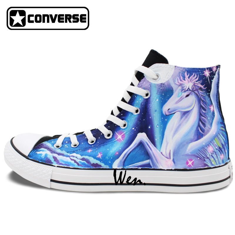 Women Men Converse All Star Shoes Galaxy Unicorn Pegasus Original Design Hand Painted Shoes Man Woman High Top Canvas Sneakers