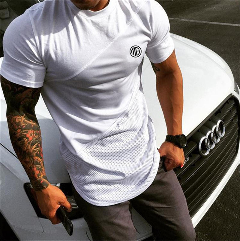 2019 Mens muscle T shirt bodybuilding fitness men tops cotton singlets Plus Big size TShirt Cotton Mesh Short Sleeve Tshirt