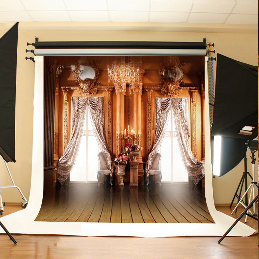 Wedding Photography Background Sun Window Flowers Photo Backdrops Vinyl Chair Chandelier Wood Floor Backgrounds for Photo Studio