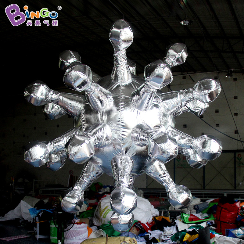 HOT SALES 2m inflatable silver snowflake shape decoration item customized toy for advertising in showHOT SALES 2m inflatable silver snowflake shape decoration item customized toy for advertising in show