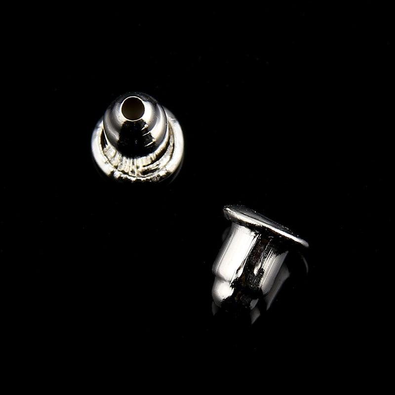 150pcs antique silver plated Earring back stopper Bullet shape Ear Post Plug stud earrings Findings jewelry making components