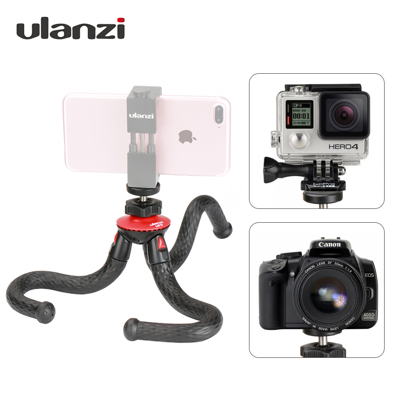 Ulanzi Mini Flexível Octopus Tripé Com Adaptador de Suporte Do Telefone Móvel para o iphone Smartphone X DSLR Camera Nikon Canon Gopro Hero