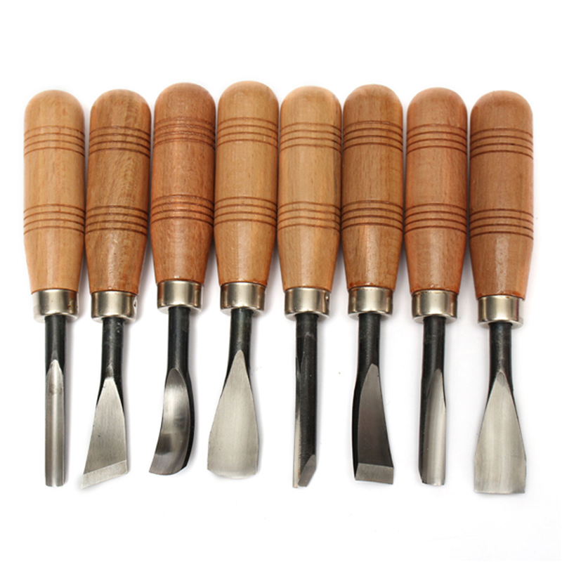 Big Size 8Pcs Woodpecker Dry Hand Wood Carving Tools Chip Detail Chisel Knife
