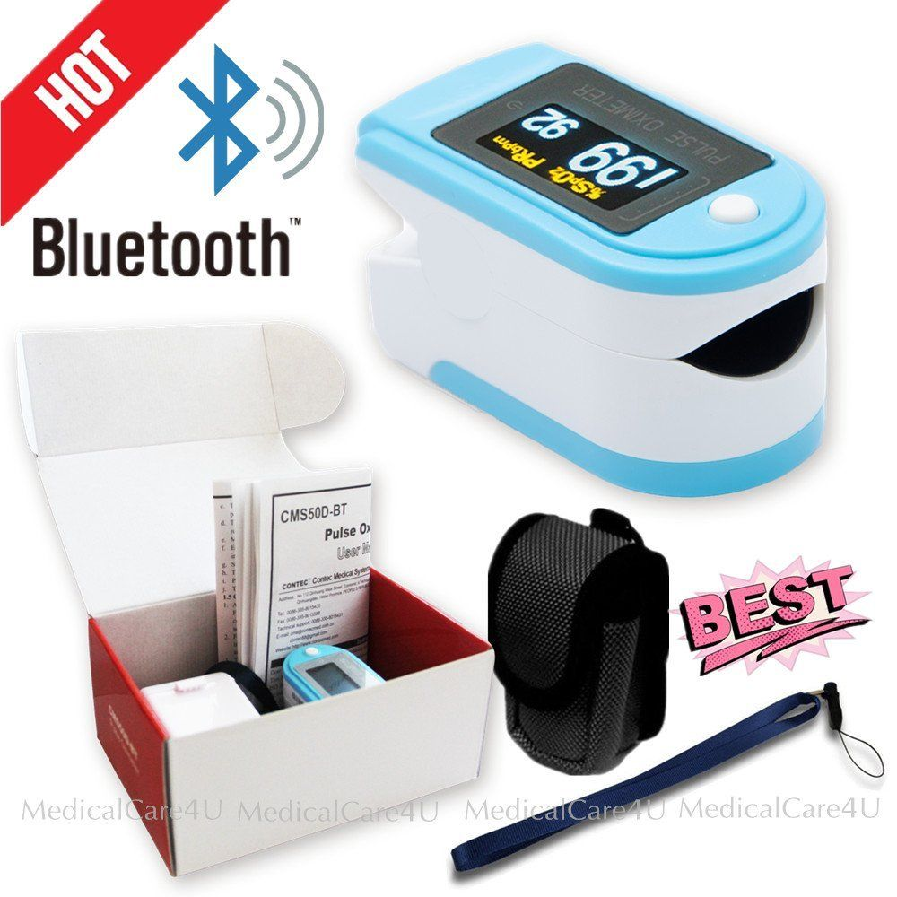 Bluetooth Fingertip Pulse Oximeter SpO2 Blood Oxygen Monitor CMS50D-BT Free Rubber Case CONTEC cms50d pulse oximeter