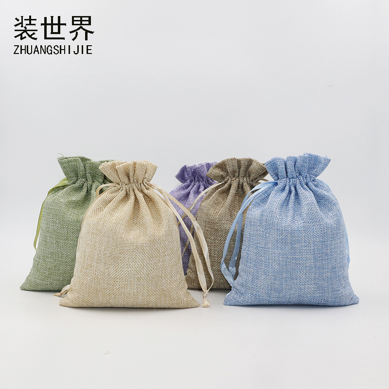20Pcs 20x30cm Linen Drawstring Pouch Bag Logo Printed Jute Pouch Christmas/Wedding Party Food Candy Packaging Bag
