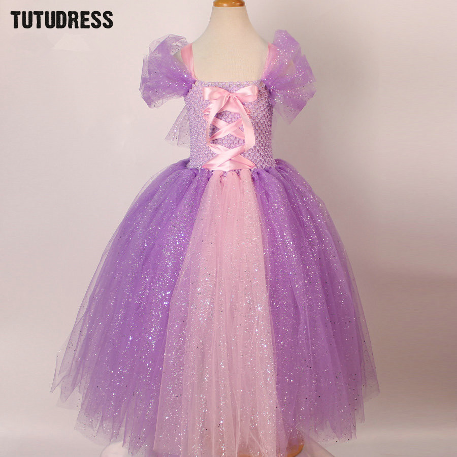 Tulle Girls Cosplay Rapunzel Princess Dress Costume Children Masquerade Ball Gowns For Kids Halloween Birthday Party Tutu Dress 2017 rapunzel cosplay dress children girls long hair princess dress halloween costume clothes kids clothing with sleeves garland