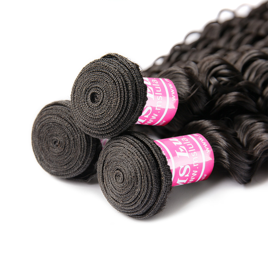 Image 3 - MS Lula Brazilian Deep Wave Bundles Weave 3 PCS/Lot 100% Human Hair Remy Hair Weft Natural Color Hair Extension Free shipping-in 3/4 Bundles from Hair Extensions & Wigs