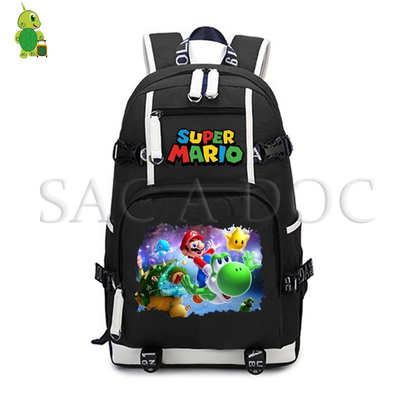 b1002555a508 Super Mario Bros cartoon School Bags backpack for Teenage Girls Boys Laptop  Backpack Large Capacity Travel