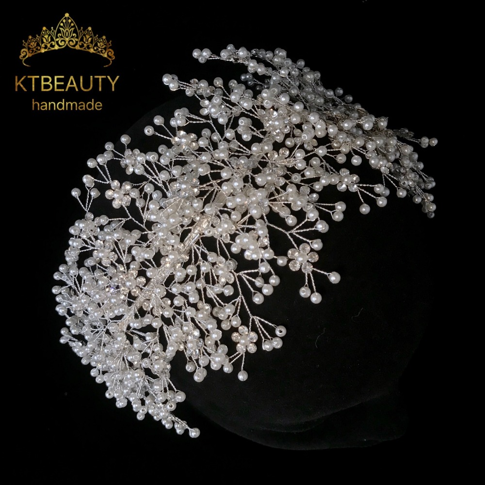 New Luxury Crystal White Pearl Crown Tiara Bigger Custom Made Rhinestones Royal Queen Princess Pageant Party