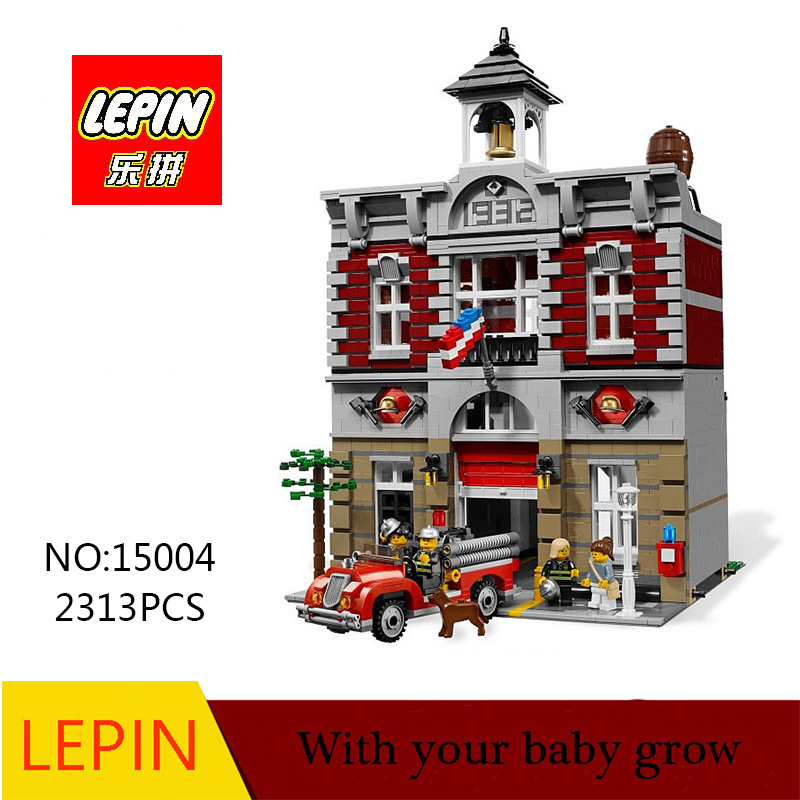 DHL Lepin 15004 2313PCS City Fire Brigade Model Doll House Building Kits Assembing Blocks Compatible With legoed 10197 new lepin 16009 1151pcs queen anne s revenge pirates of the caribbean building blocks set compatible legoed with 4195 children