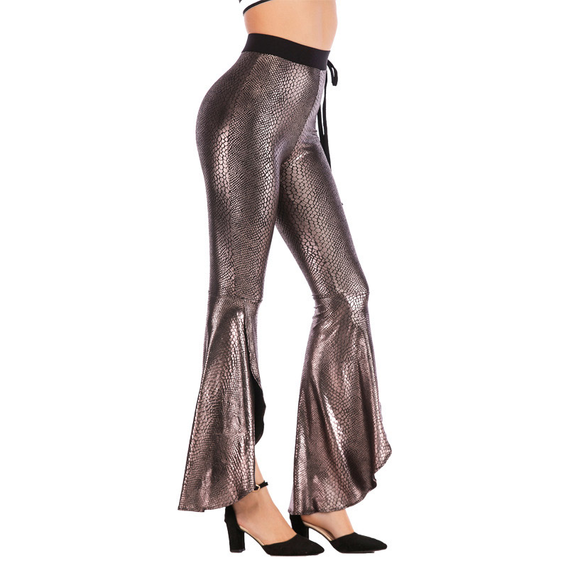 Show details for 2019 Autumn Streetwear Trousers Women Sexy Nightclubs Jazz Party Flared Leggings Slim High Waist Leggings Pants With Belt S-3XL