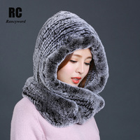 [Rancyword] Hat Women 2017 New Knitted Real Rex Rabbit Fur Hat Hooded Scarf Winter Warm Natural Fur Hat With Neck Scarves RC1319