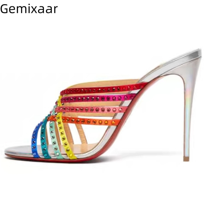 Colorful Narrow Cross Strap Studded Rhinestone Women Shoes Peep Toe Slim Shallow Slides Sexy Thin High Heels Holiday Slippers Colorful Narrow Cross Strap Studded Rhinestone Women Shoes Peep Toe Slim Shallow Slides Sexy Thin High Heels Holiday Slippers