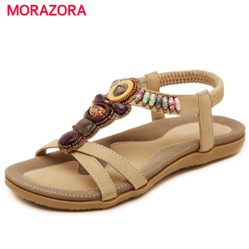 MORAZORA Large size 35-44 China's style woman shoes PU string bead platform shoes summer women sandals party fashion купить