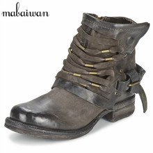 Straps Decor Women Genuine Leather Ankle Boots Side Zipper Flat Shoes Woman Militares Martin Botines Mujer Snow Boots