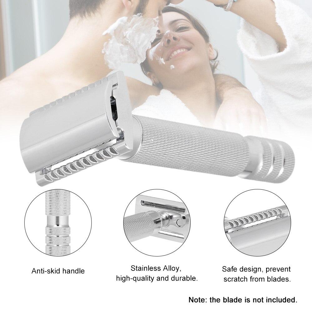 Classic Double Edge Shaving Razors Handled Safety Wet Shaving Razor Stainless Alloy Chrome Plating Facial Clean Manual Razors 5