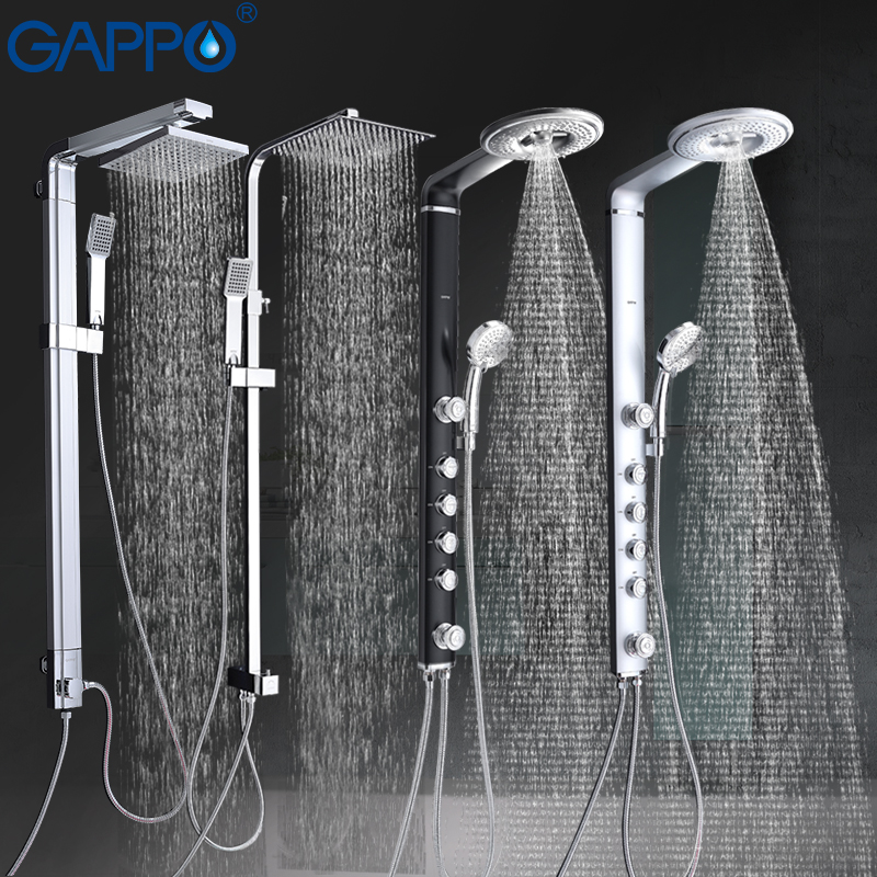 GAPPO bath shower faucets set bathroom shower tap wall mount faucet mixer wall shower set Waterfall ABS Panel Massage big shower wall mount single handle bath shower faucet with handshower antique brass bathroom shower mixer tap