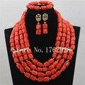 Maravilloso de Coral Perlas Africanas Joyería Nigeriano Perlas Collar de La Joyería de Traje Africana 2016 Nuevo Envío Libre C001283