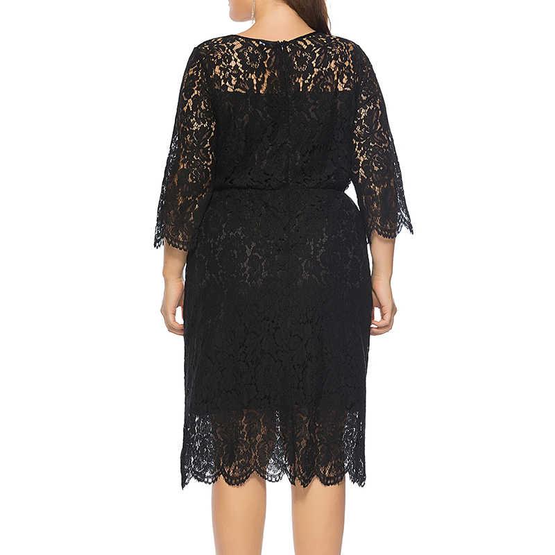 Vestido negro de encaje de talla grande 3/4 manga ahuecada Bodycon mujeres de moda Sexy Vestidos de fiesta de verano para mujer Vestidos de talla grande 5XL