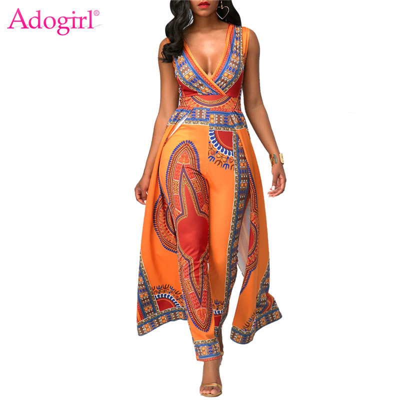 d6bf1f145b3a Adogirl Africa Ethnic Print Orange Women Jumpsuit Sexy Wrap V Neck  Sleeveless Indie Folk Romper Fashion