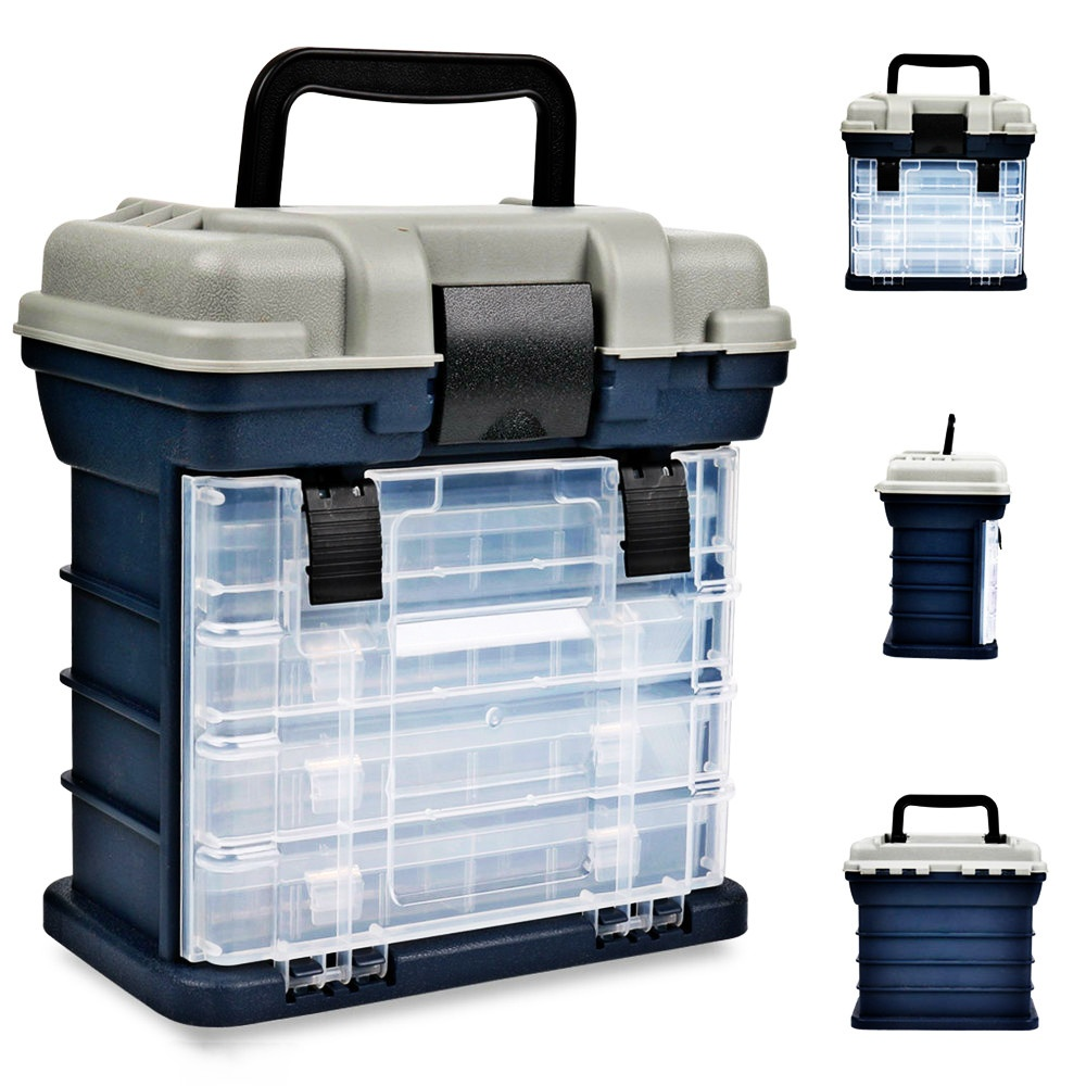 27*17*26cm Portable 4 Layers Big Fishing Tackle Box Plastic Handle Fishing Box Carp Fishing Case Tools Fishing Accessories
