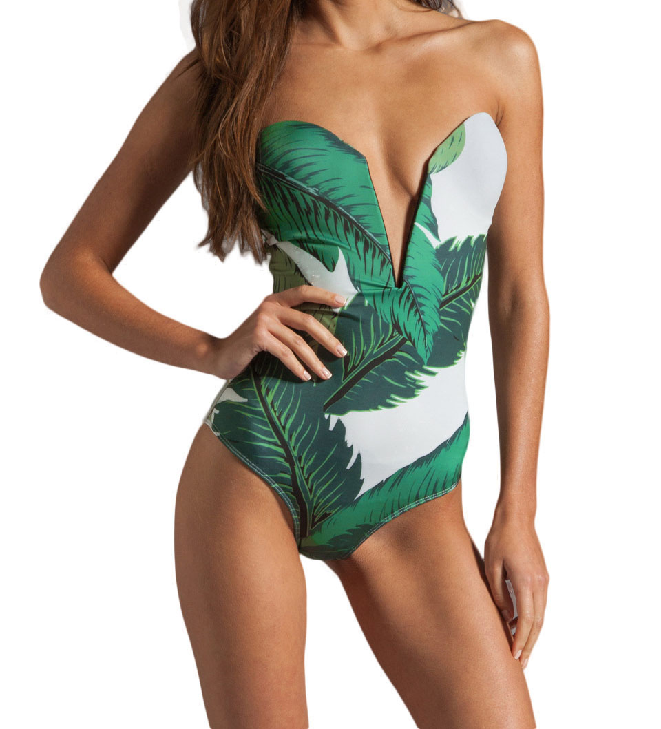 Sexy One Piece Green Leaves Floral Print Plunging Deep V-neck Swimsuit Beachwear Swimwear push up monokini bikini Bathing Suit