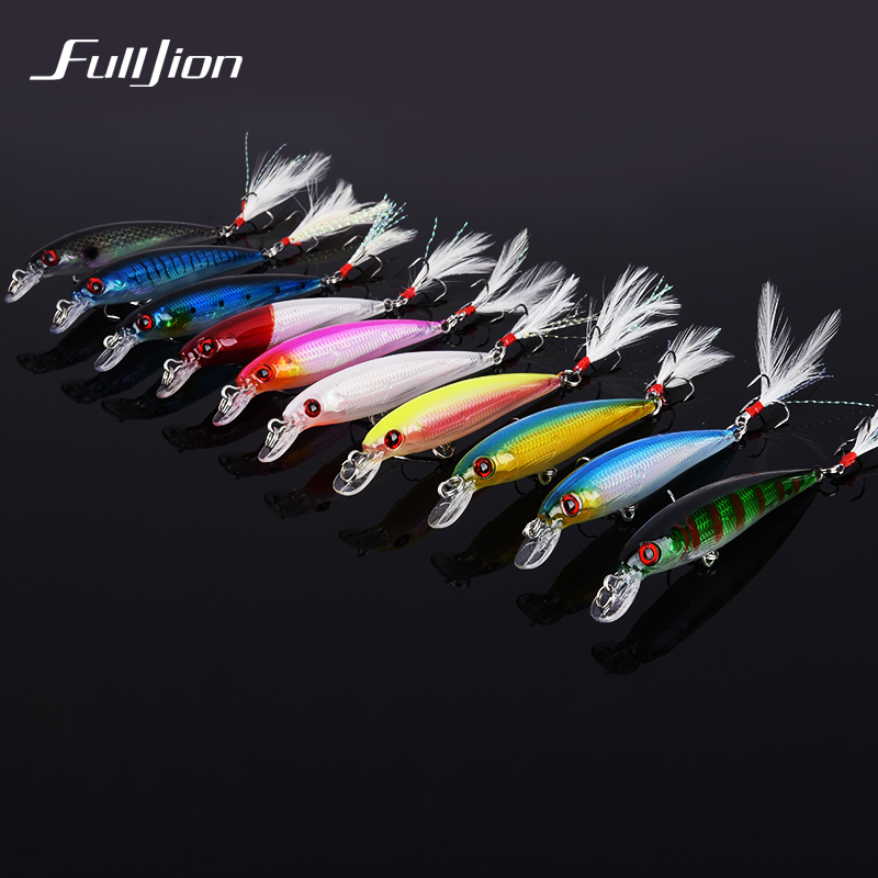 Fulljion 1pcs Fishing Lures Float Minnow Wobblers Crankbait Artificial Hard Lures 3D Eyes Hooks With Feather Plastic Pesca Baits 9pcs lifelike plastic hard crank floating wobblers double fishing hook artificial fishing lures baits crankbait 1 8 4g pesca
