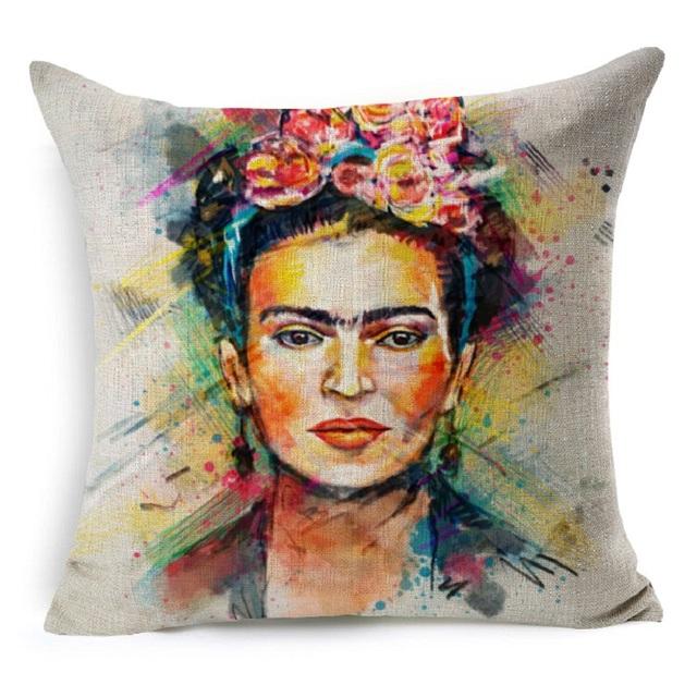 SMAVIA Frida Kahlo Panithing image Pillow Cover Cotton Linen Colorful Flower 43*43cm/1pc pillowcase Decorative Home Pillowcover