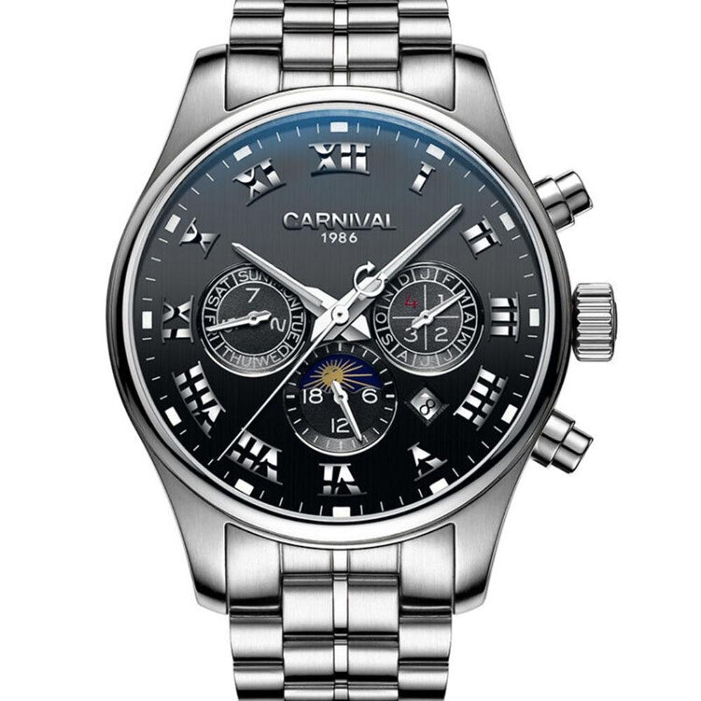 Carnival Brand Classic Mechanical Watch Men Roman Numerals