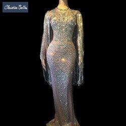 Кристаллы Длинные кисточкой вечерние облегающее платье для женщин с длинными рукавами выпускного вечера напольный, Свадебный длина платье...