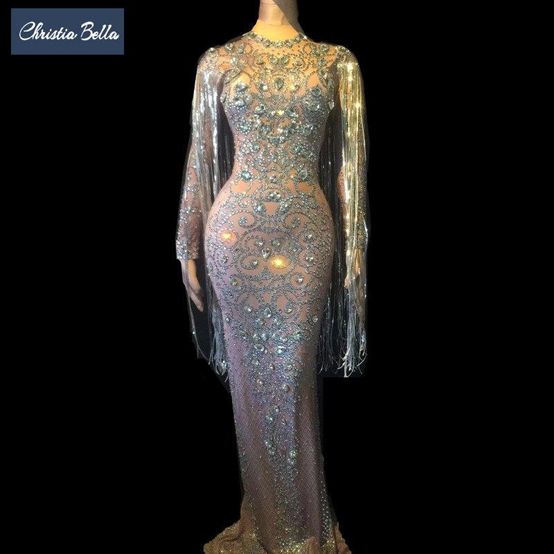 Cristaux longue gland parti moulante robe femmes manches longues bal de mariage étage longueur strass robe chanteur scène robe