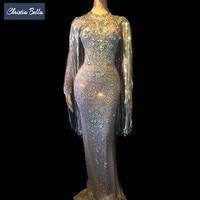 Crystals Long Tassel Party Bodycon Dress Women Long Sleeves Prom Wedding Floor Length Rhinestones Dress Singer Stage Dress