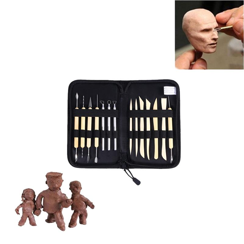 WINOMO 14-In-1 Professional Clay Tools Set Wooden Metal Pottery Sculpture Clay Tools Kit With Zippered Canvas Bag Case