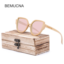 2017 New BEMUCNA Eyewear Women Cat eye Wood Sunglasses Vintage Metal Retro Women Mirror Shape lunettes de soleil femme zonnebril