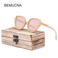 BEMUCNA Eyewear New Womens Cat Eye Wood Sunglasses Vintage Metal Retro Women Mirror Shape Lunettes De