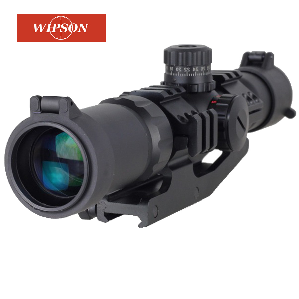 WIPSON Tactical 1.5-4x30 Tri-illuminated Red Green Blue Mil-dot Reticle Rifle Scope riflescope Sight free shipping compact m7 4x30 rifle scope red green mil dot reticle with side attached red laser sight tactical optics scopes riflescope