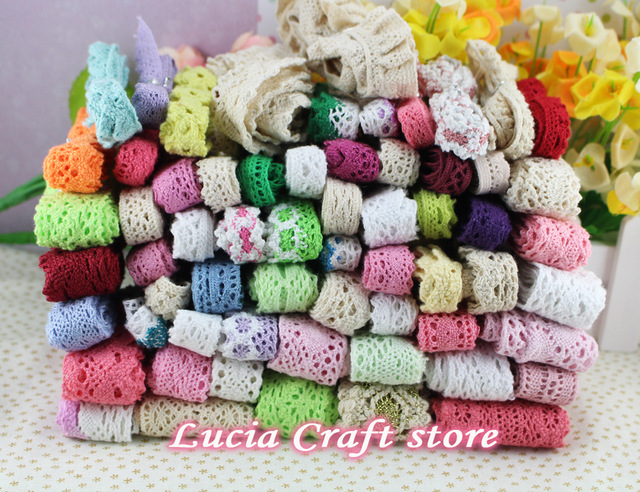 Lucia Crafts Random Mixed Colors/styles Cotton Lace Knitting Trim DIY Handmade Accessories 15 Yards/lot,3y/style N0106