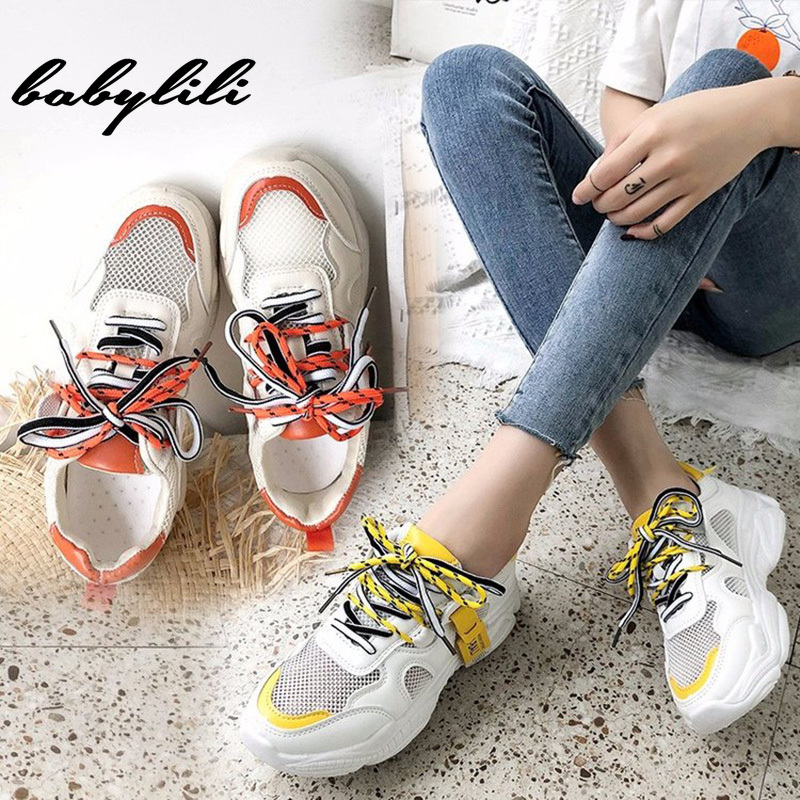 Woman Thick Bottom White Sneakers 2019 Summer Ladies Comfortable And Breathable Basketball Shoes Women Lace Up Non-slip Sneakers