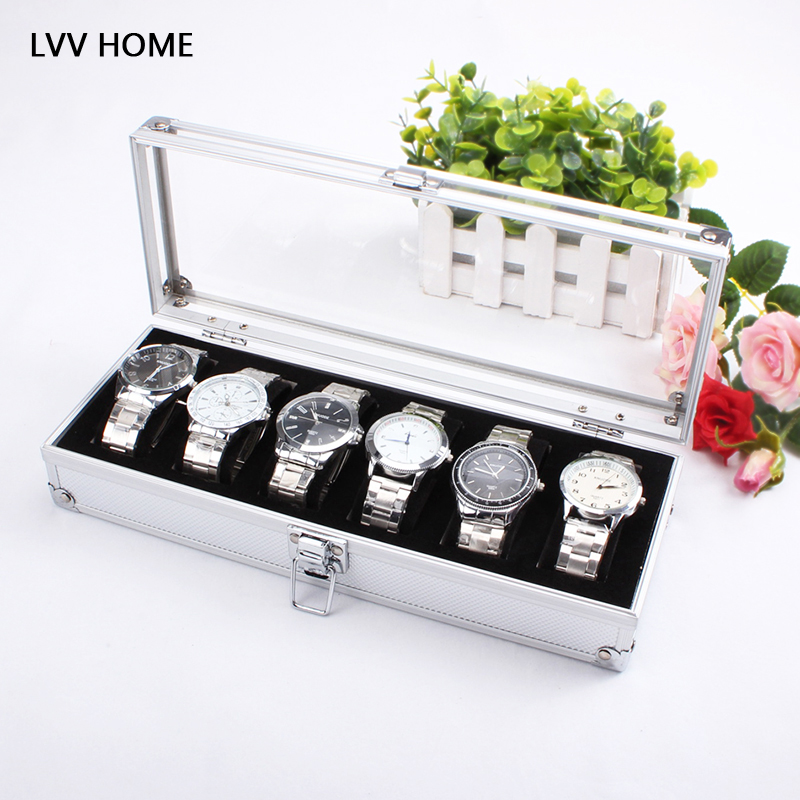 LVV HOME 6 grid aluminum watch storage box/Acrylic cover jewelry watches display storage case holiday gifts