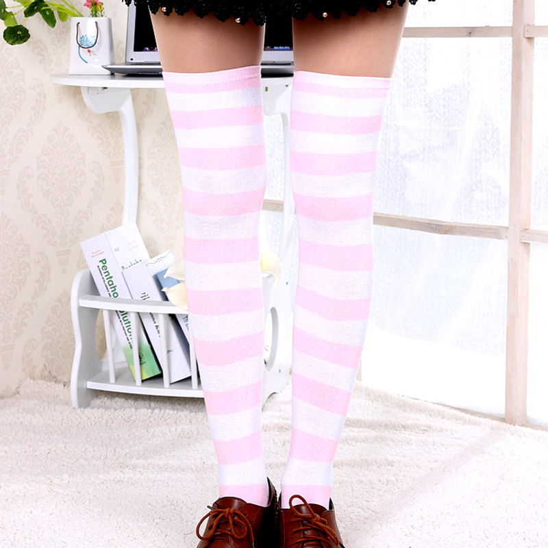 1Pair New Women 39 s Over The Knee Large Size Stockings Sexy Thighs High Stripes Pattern 6 Color Sweet Cute Warm Winter 2019 in Stockings from Underwear amp Sleepwears