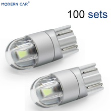 MODERN CAR 100pcs T10 LED car Lights Bulbs White 194 168 W5W Lamp t10 3030 2SMD 12V 6000K Interior Turn Signal Lights Blue 24V 0 3w t10 1212 6 led vehicle decoration signal white lamp bulbs dc 12v 2 pack