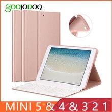 Caso de teclado para ipad mini 3 2 1 4 5 2019 [suporte múltiplo] capa de silicone de couro do plutônio para ipad mini caso funda teclado inteligente