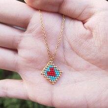 FAIRYWOO – Collier Miyuki avec pendentif en forme de petit cœur, chaîne en acier inoxydable, bijoux tendance pour femmes et filles, cadeaux d'amitié