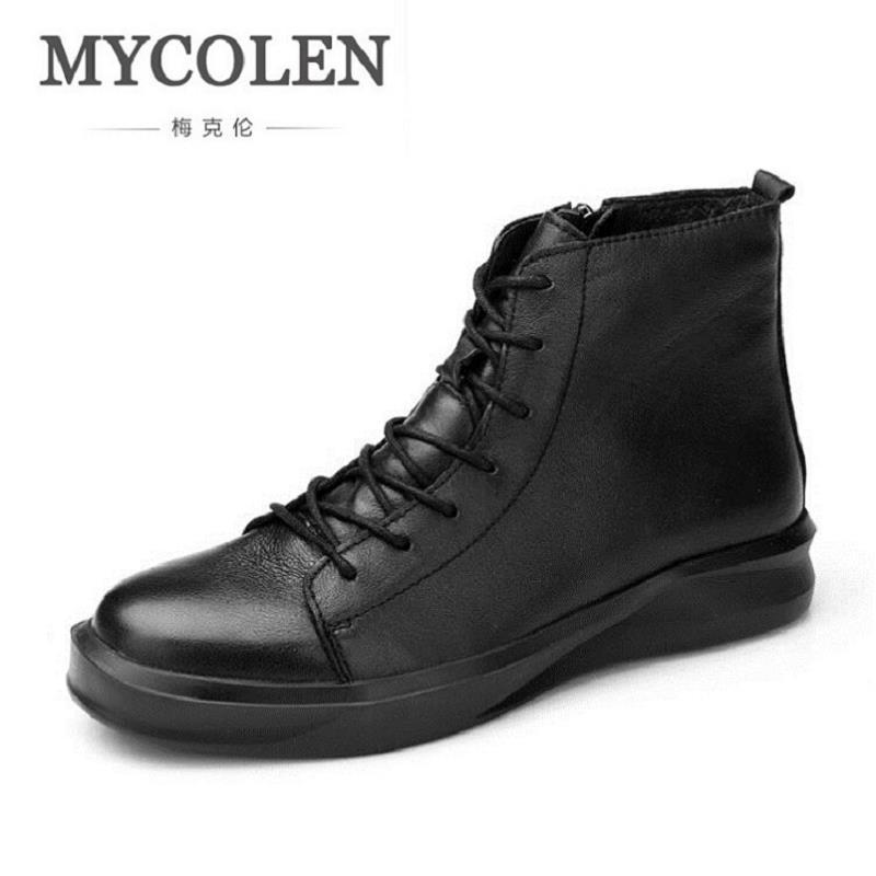 MYCOLEN Brand Designer Men Boots New Fashion Real Leather Ankle Boots Street Style Lace-up Men Shoes Botas De Cuero De Hombre