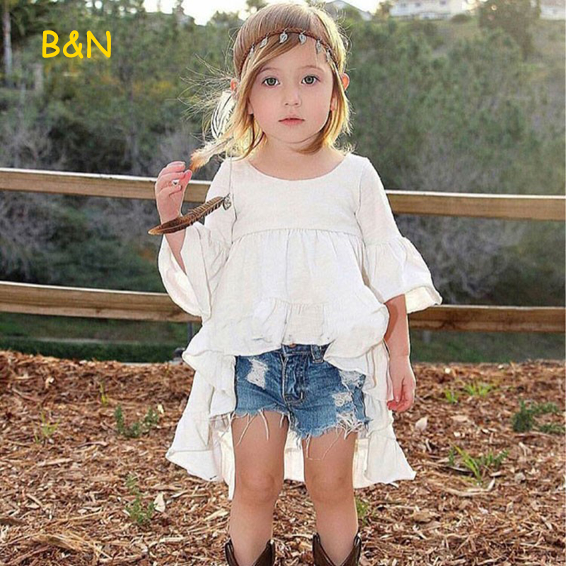 B&N Euramerican Style Baby Clothes Frills Flare Sleeve Girls Top Ruffles Hem Summer Cloth Cotton Casual T-Shirt For Kids