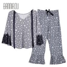 Pajamas Set For Woman Cure Soft Plaid 100% Cotton Female Sleep Wear Home Suit Sets Pyjamas Spring BANNIROU